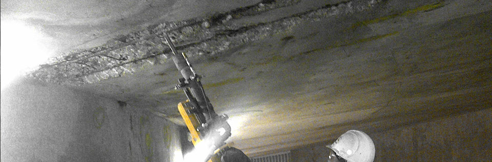 Parking Garage Overhead Concrete Chipping