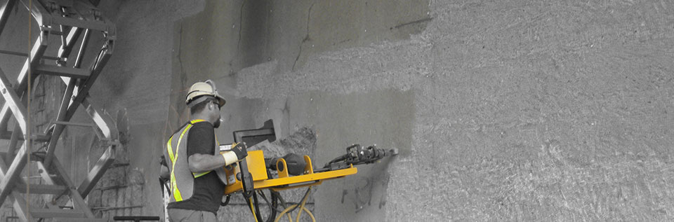 Dam concrete chipping machine