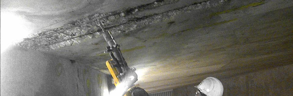 Parking Garage Overhead Concrete Chipping