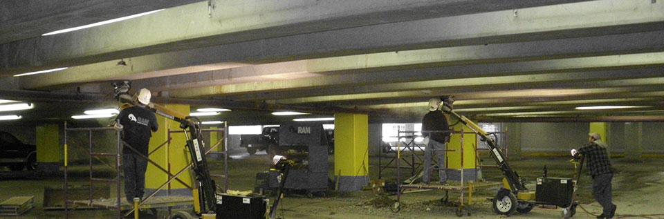 Underground garage concrete drilling
