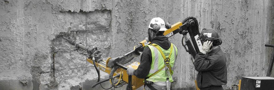 Building facades concrete demolition