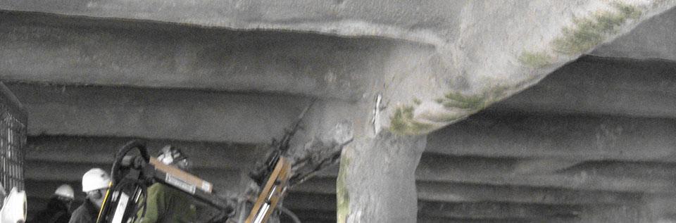 Overhead bridge cement chipping